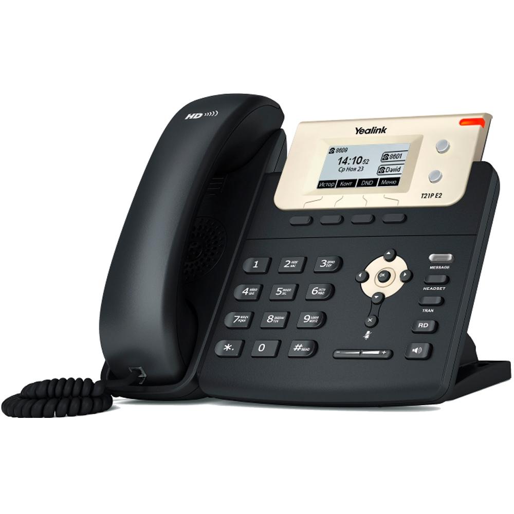 Yealink SIP-T21P E2 SIP-телефон, 2 линии, PoE, с БП